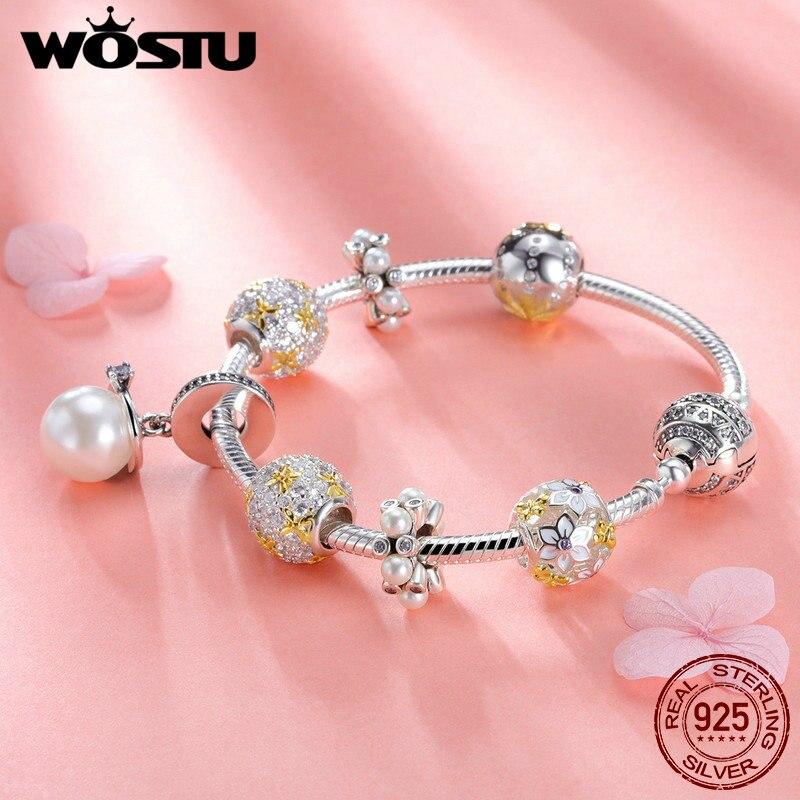 WOSTU подлинный 925 пробы Серебряный ослепительный полный цветение ромашка браслет для женщин модные серебряные ювелирные изделия подарок для влюбленных DXB806 - 6
