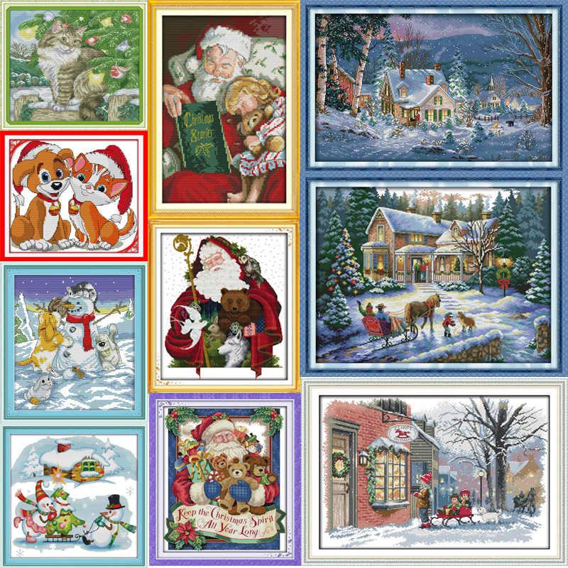 Freude Sonntag Weihnachten serie Leinwand Dmc Chinesischen Stickpackungen gedruckt kreuzstich gesetzt Stickerei Hand