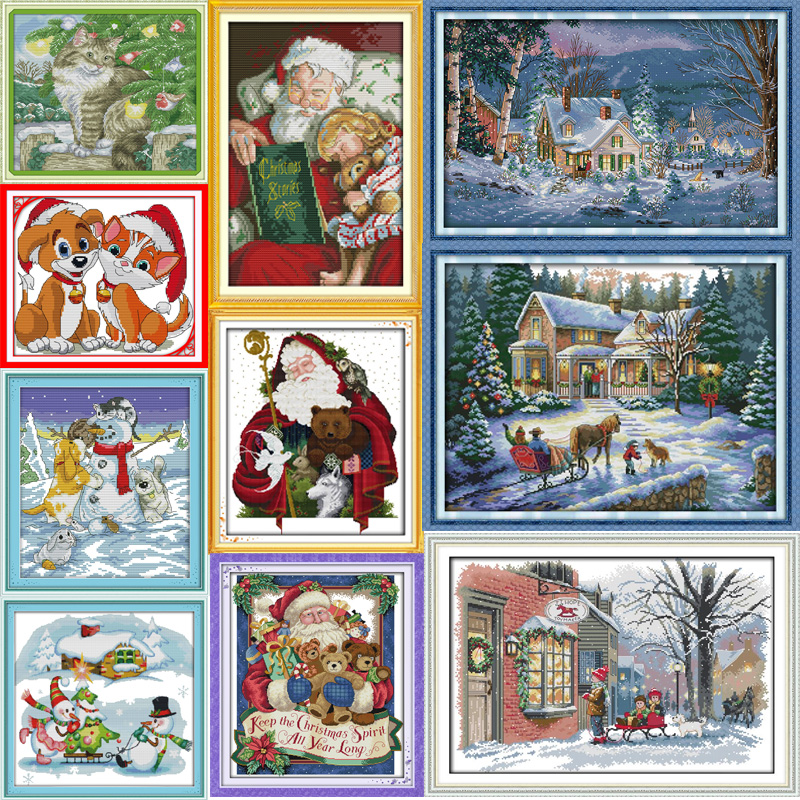 Joy Sunday Christmas series Canvas DMC Counted Chinese Cross Stitch Kits printed Cross-stitch set Embroidery Needlework
