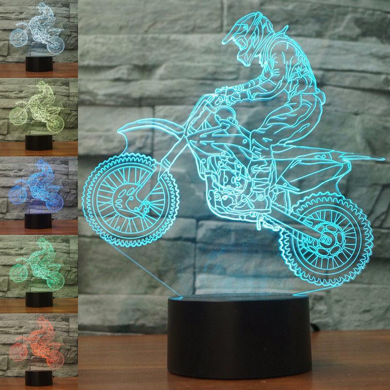 Езда на горном велосипеде мотоциклы 3D сенсорный Иллюзия светильник светодиодный 7 цветов ночной Светильник USB Декор подарок настольные лам...