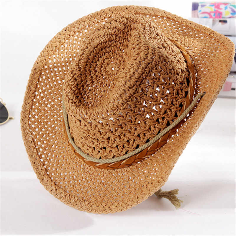 48aba13e ... Summer Autumn 54cm Children Caps Cowgirls Cowboy Hats for Kids Stars  Pattern Straw Caps with Cable ...