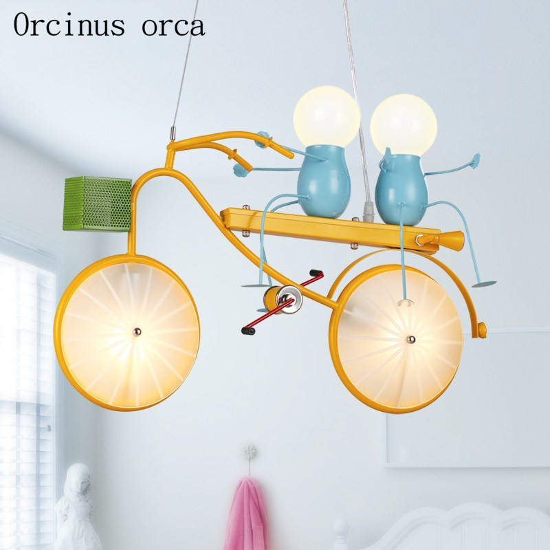 Modern simple cartoon bicycle chandelier children room boy bedroom creative personality LED chandelier free shipping children s room creative fighter chandelier boy bedroom cartoon led airplane chandelier free shipping