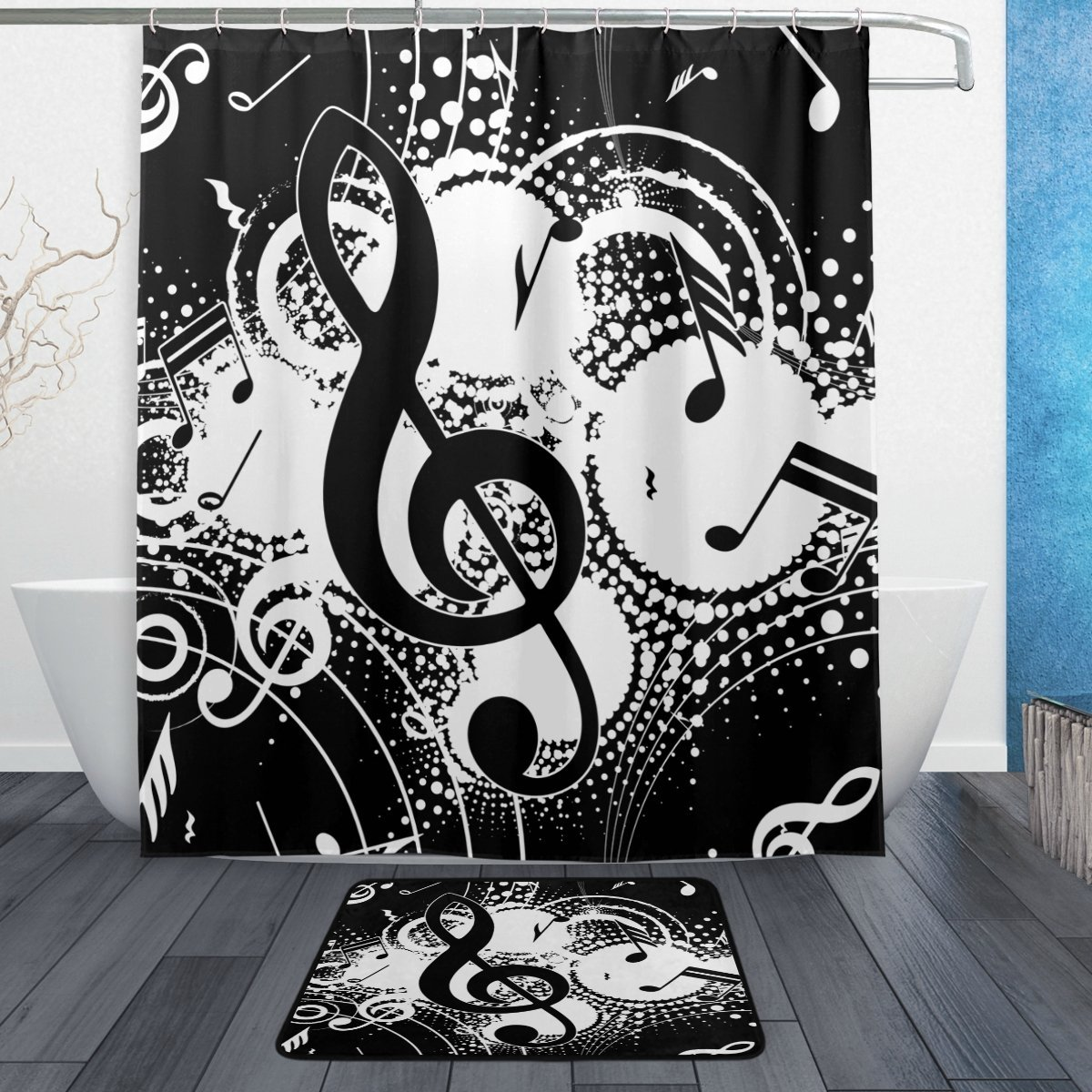 Naadloze Badkamer Polyester Abstract Music Note Zwart Wit Waterdicht Polyester Douchegordijn