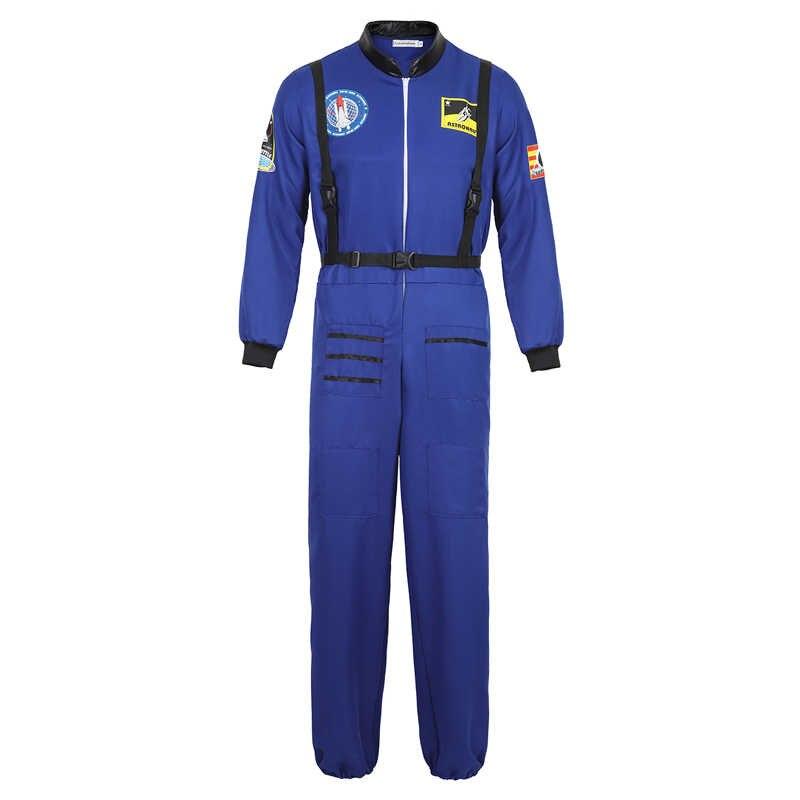astronaut costume adult astronaut jumpsuit suit men women flight suit halloween cosplay one piece overalls blue white orange