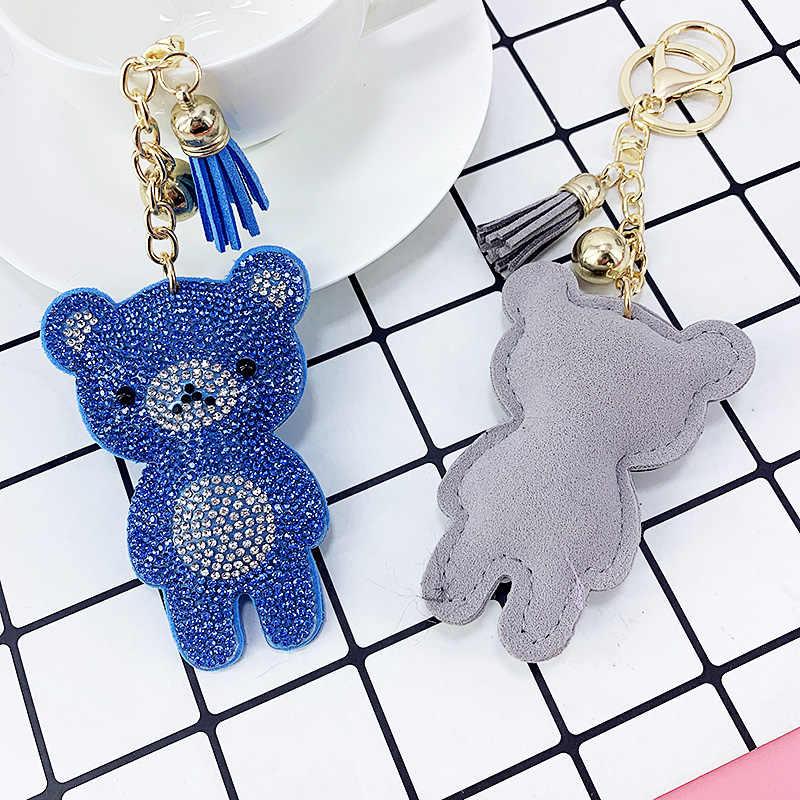 Mini urso brilhante incrustado strass chaveiros sacos engraçados pendurado pingente jóias ornamento chaveiro borla decoração ano novo presente