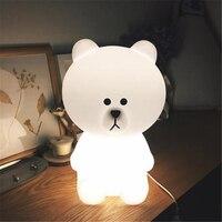 Ins Household Decoration LED Lamp Lovely Small Brown Bear30cm Children Bedroom Desk Bedside Lamp Night Light