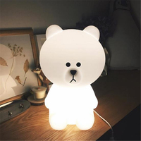 Ins Household Decoration LED Lamp Lovely Small White Bear30cm Children Bedroom Desk Bedside Lamp Night Light Free Shipping