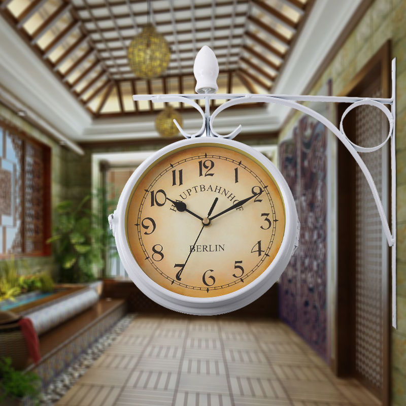 (Ship From EU) Home Garden Train Station Clock Central Station Wall Clock Double Sided