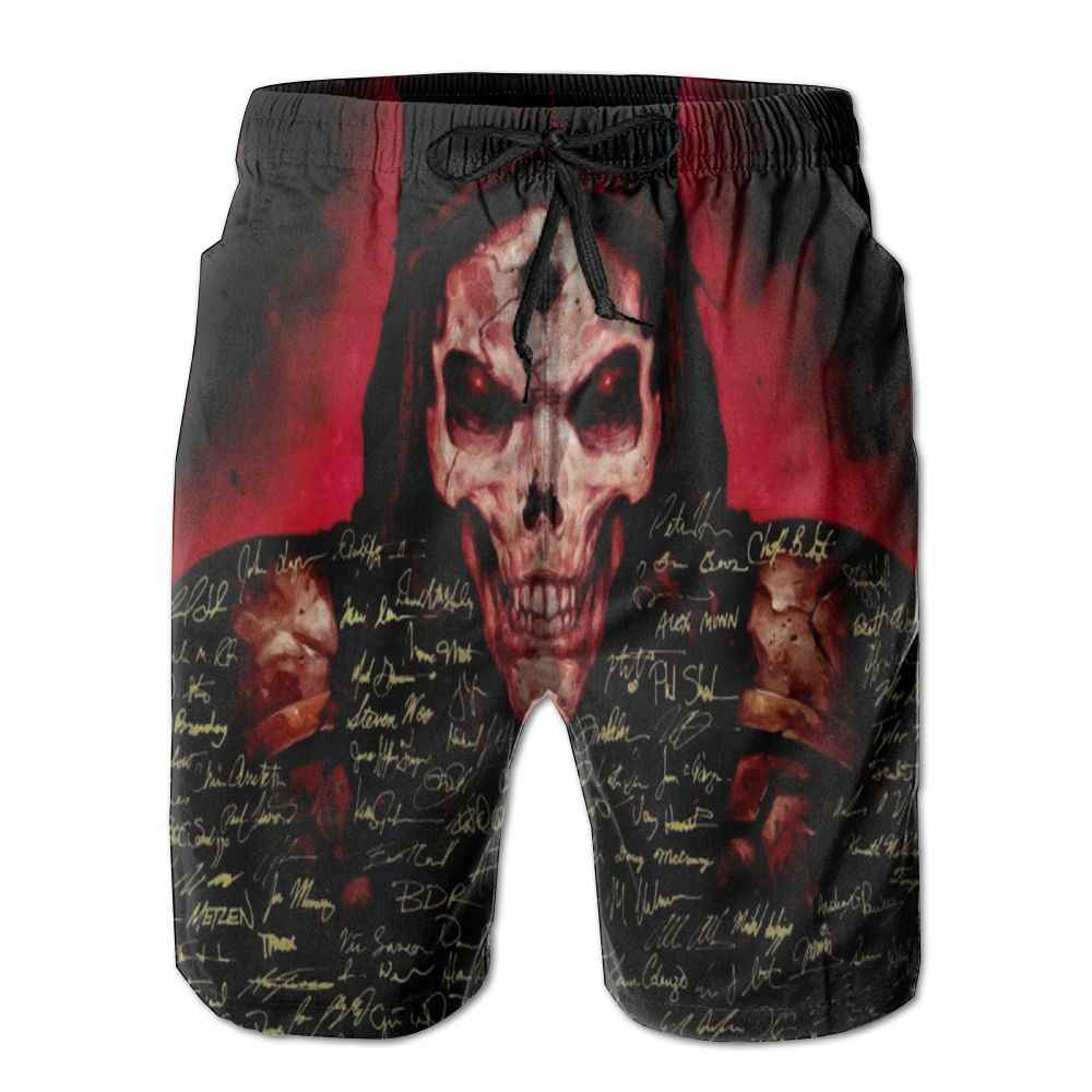 SAMCUSTOM mens perspiration quick dry ultra light breathable Leisure home shorts Skull grows wings 3D printing beach shorts