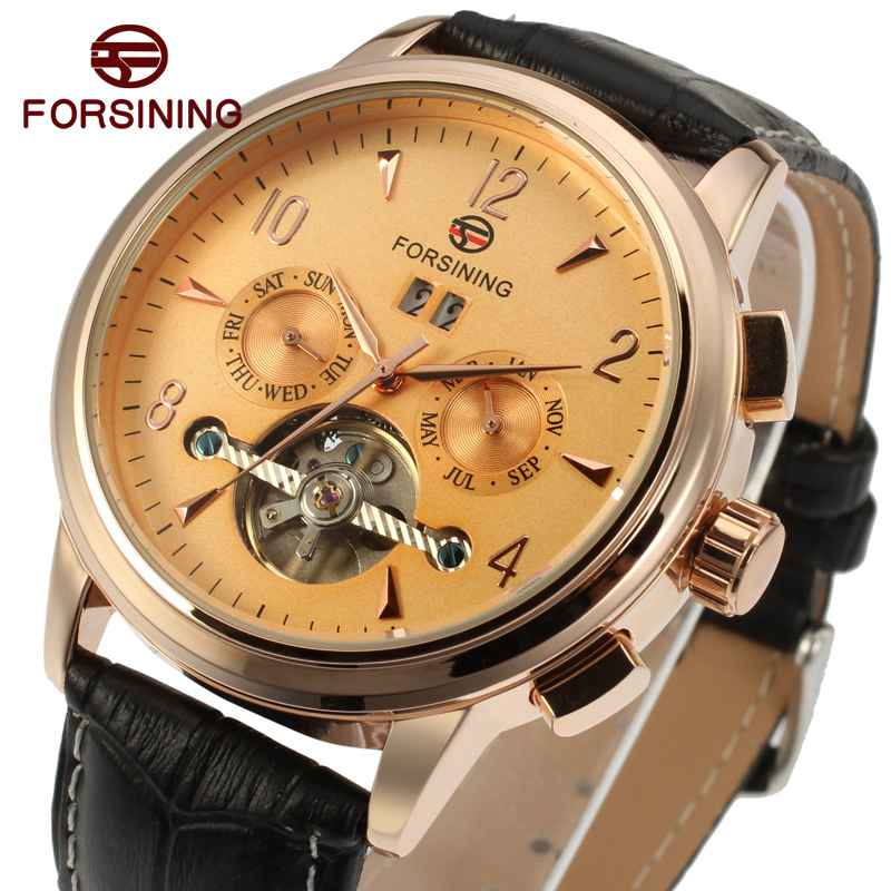 Royal Men Auto Mechanical Wrist Watch 2017 Top Brand Luxury FORSINING Tourbillon Sub-dial Calendar Date Genuine Leather Strap casual leisure sport men s mechanical wrist watch leather strap tourbillon calendar display luminous night light big crown