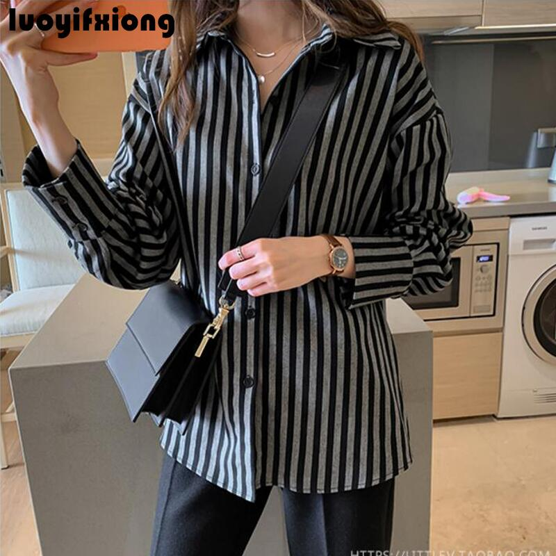 Kimono Cardigan Long Sleeve Vintage Striped Blouse Shirt 2019 New Work Womens Tops and Blouses Loose Casual Plus Size Blusas 3