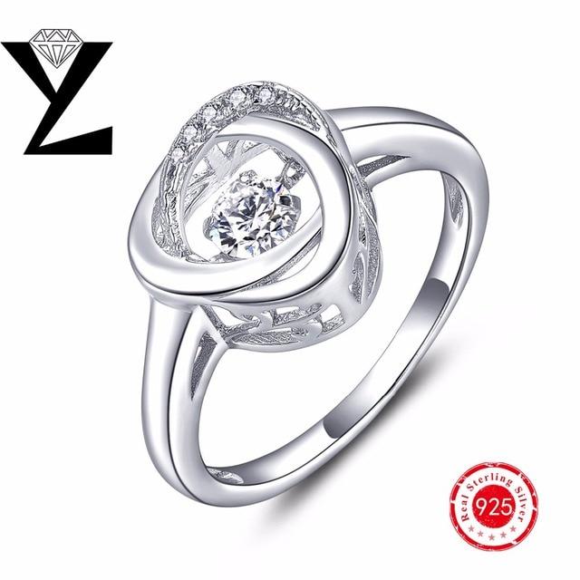 100% Реального Чистая Стерлингового Серебра 925 Кольцо Обручальное Палец кольца с Танцами CZ Кольцо С Бриллиантом, Золотые Кольца для Женщин ювелирные изделия