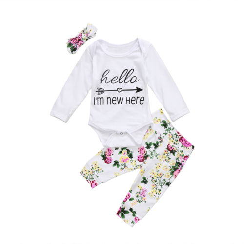 3pcs!! Newborn Baby Girl Clothes Floral Long Sleeve Hello New Here Romper Tops Floral Pants Headband Outfits Clothes 3pcs newborn baby girl clothes set long sleeve letter print cotton romper bodysuit floral long pant headband outfit bebek giyim