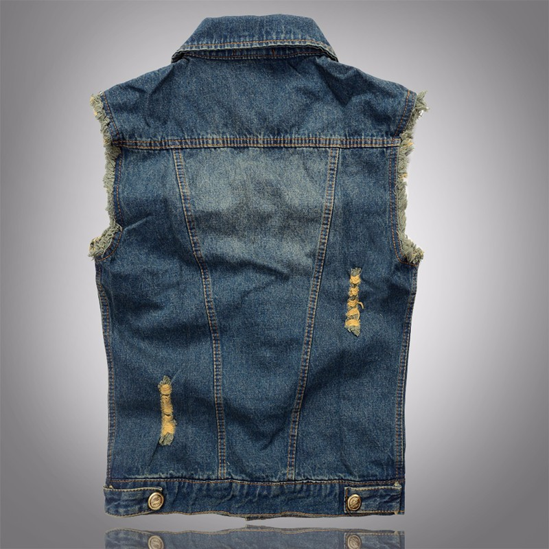 2016 Hot Men Denim Vest Hole Sleeveless Jean Jacket Ripped Fashion Male Plus Size Waistcoat