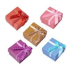 Pandahall 12pc Mix Colors Square Dot Cardboard Ring Bracelet Anklet Sponge Boxes Size: 51x51x31mm