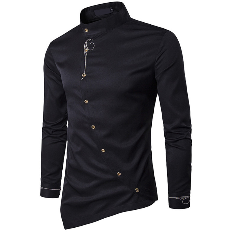 DSstyles Muslim Men's Tops, Personality, Diagonal Buttons, Irregular Lapel, Multi-color Shirts