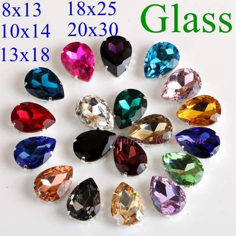 Падение Форма Стекло Стразы с когтями пришить Teardrop хрустальный камень Стразовая Diamond металла пряжки для одежды