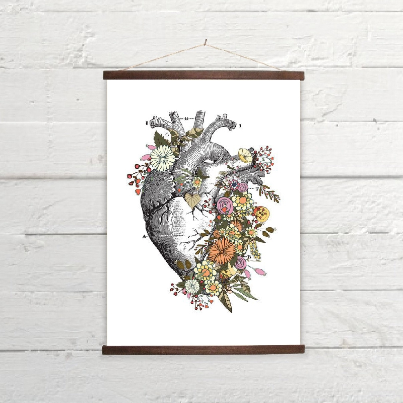 HTB1IFygcR1D3KVjSZFyq6zuFpXav Vintage Anatomy Floral Heart Brain Wall Art Canvas Painting Retro Posters and Prints Wall Pictures Medical Doctor Clinic Decor