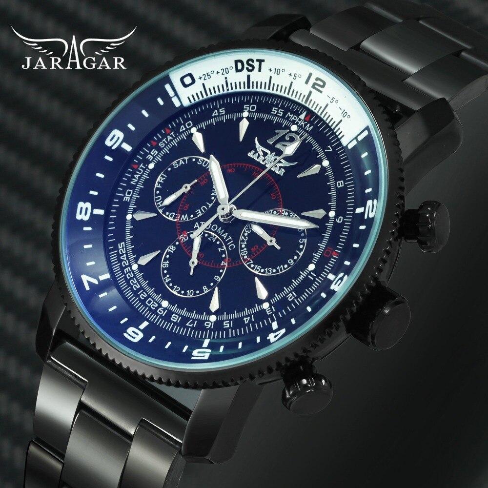 JARAGAR Fashion 2018 Mens Watches Top Brand Luxury 3 Sub dials 6 Hands Blue Mirror Case Classic Auto Mechanical Wrist Watch Men|Mechanical Watches| |  - title=
