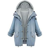 2018 Autumn Women Denim Jacket Large Size 2 Pieces Set Detachable Hooded Overcoat Loose Causal Jeans