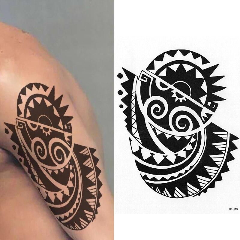 Maorí Sol Tatuaje Temporal Sol Tierra Tribal Para Hombre Para