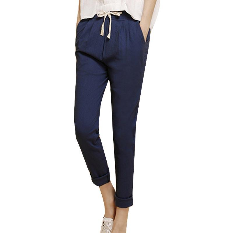 d8cc4cc1b91 2018 Summer Harem Pants Women High Elastic Waist Loose Cotton Linen Solid  Nine Pants Plus Size Pockets Casual All-match Trousers