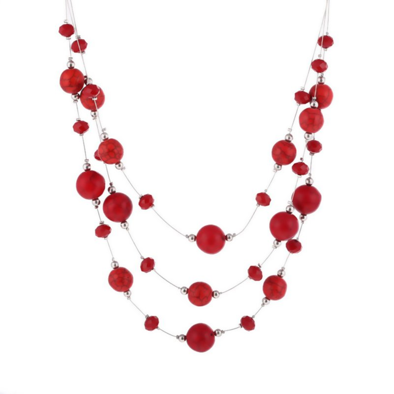 Multi Layer Necklaces & Pendants Female Jewelry Sweater Tassel Chain Vintage Natural Red Stone Beads Necklace Women