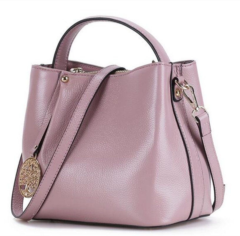 casual crossbody tote bag genuine leather messenger bags metal decoration women solid zipper soft shoulder bags FR458