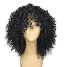 180 Density Lace Front Kinky Curly Human Hair Wigs With Bangs Human Lace Front Wig Remy Wig For Black Women Swiss Lace