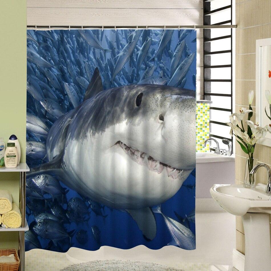CHARMHOME Polyester Shower Curtain Fish Shark Print DIY Bathroom ...