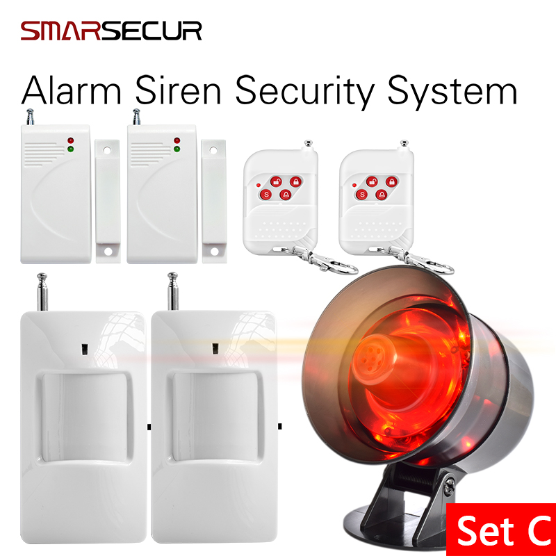 Smarsecur Loudly Easy DIY setting Simple to operate Wireless Home House Alarm Siren System Security Alarm System for Garage