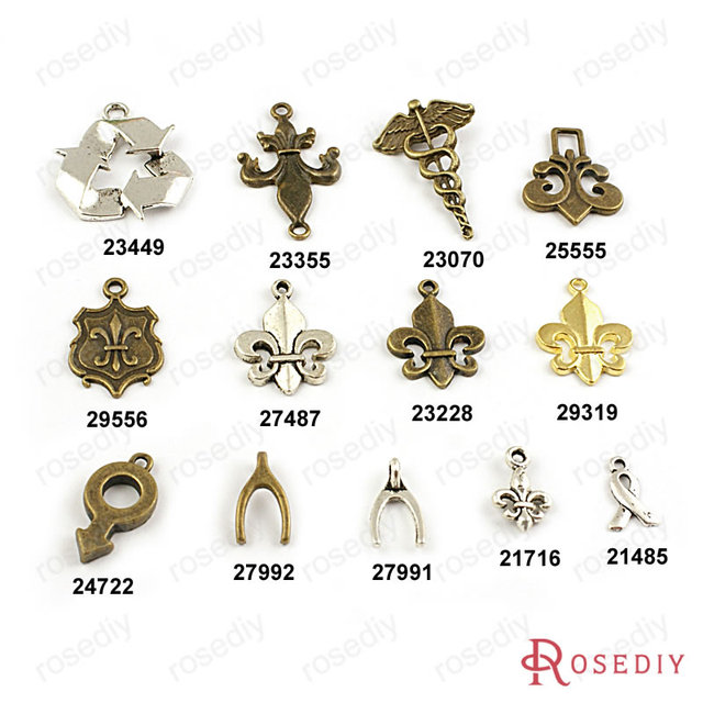(21485)Wholesale Ribbon Wing Stick Symbol Recyclable Logo Charms Pendants  Accessories More styles can