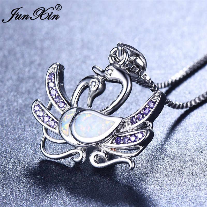 Boho женский Лебедь животное модные кулоны, ожерелья 925 стерлинговые серебряные Свадебные украшения белый синий огонь опаловые ожерелья для женщин