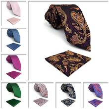 Floral Paisley Checkes Mens Necktie Pocket Square Set Extra long size 63 Ties for Men Classic Wedding
