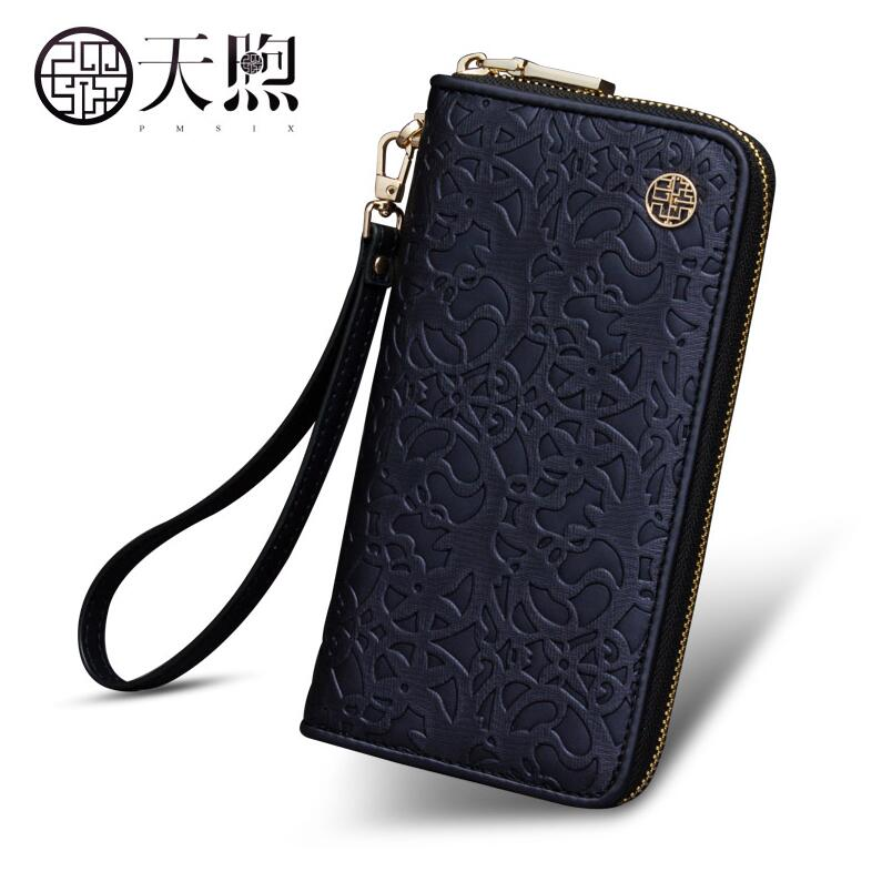 TMSIX New women pu leather bag famous brands fashion Luxury leather wallet bag women Embossed Clutch bag long zipper wallets new 2016 fashion women pu leather wallet women wallets famous brands zipper long grid hand bag purse portefeuille femme