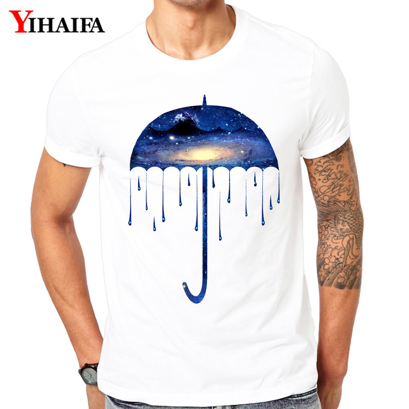 T-Shirt Men Hombre Stylish Suit Gym Print Space Galaxy Umbrella Graphic Tees Casual TShirts White Tee Shirts Unisex Summer Tops