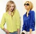 Свободные Сплошной Цвет Длинным Рукавом V-образным Вырезом Женщины Шифон Блузка Лето Осень Рубашка Топы