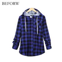 BEFORW New Fashion Women Autumn Winter Ladies Tops Long Sleeve Hoodie Loose Sweatshirts Grid Lattice Button