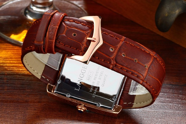 Fashion  Men's Women's Quartz Watches rectangular Business Couple watches Genuine Leather Male Retro Quartz Wristwatches