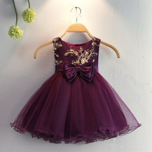 Free Shipping Cotton Lining Infant Dresses 2019 New Arrival Dark Purple Baby Dress For 1 Year Birthday Toddler Christening Gowns