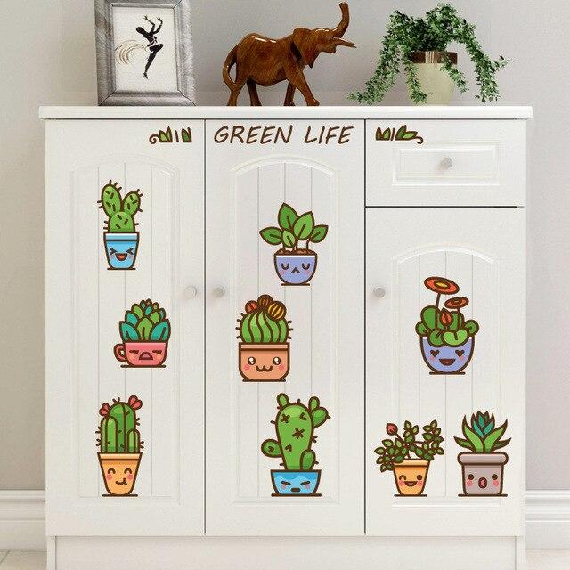Us 155 Nette Kaktus Pflanzen Töpfe Wand Aufkleber Kinder Kindergarten Wohnkultur Ausdruck Gesichter Diy Wand Papiere Fenster Tür Möbel Abziehbilder