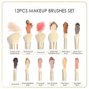 Набор кистей для макияжа FOCALLURE, 12 шт., Профессиональный набор кистей для макияжа Снежный эльф, подходит для теней, основы, пудры, роскошный набор кистей для макияжа, инструменты