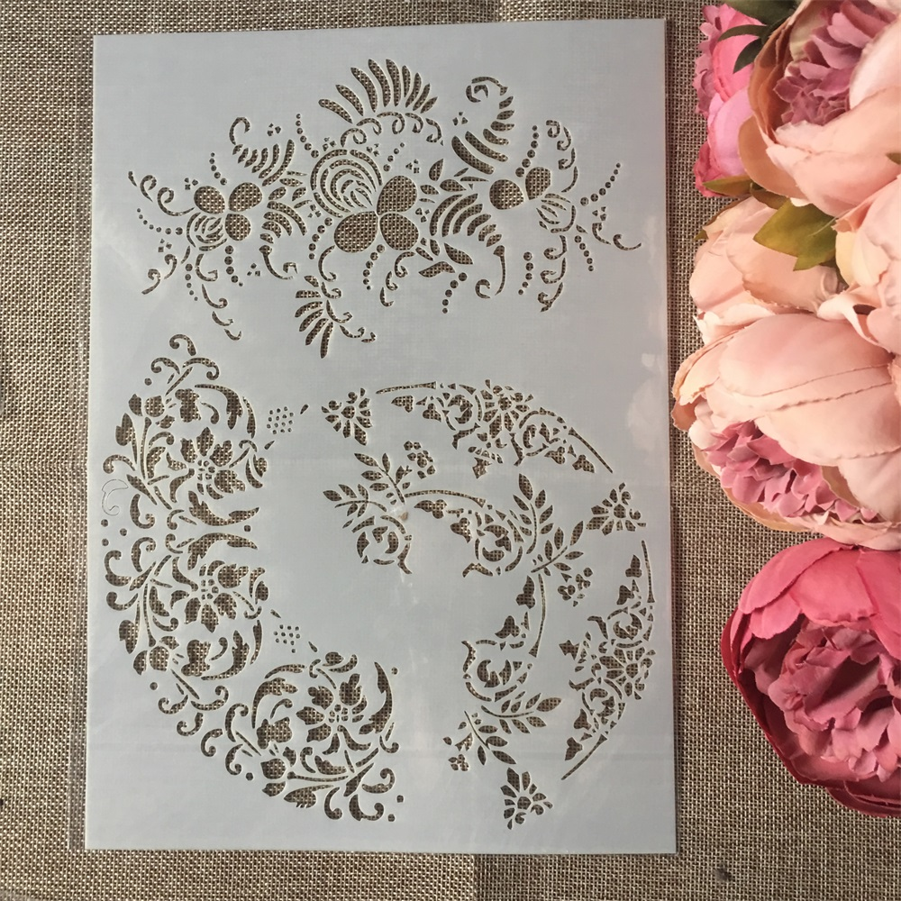 1Pcs A4 Leaf Circle DIY Layering Stencils Wall Painting Scrapbook Coloring Embossing Album Decorative Paper Card Template