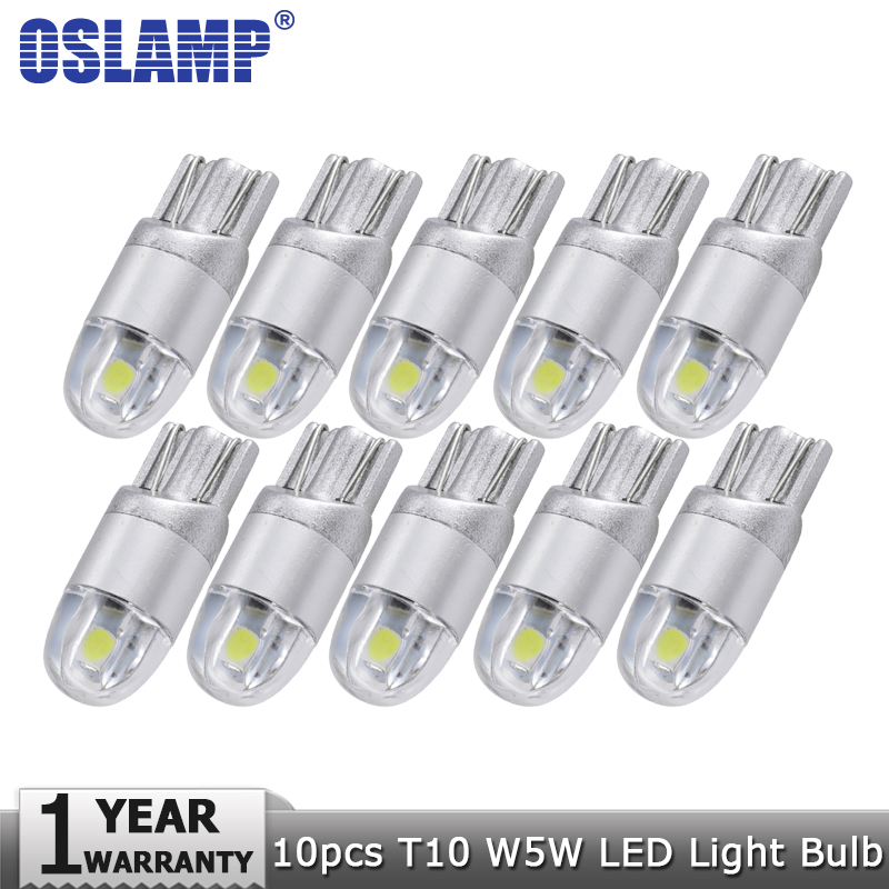 Oslamp 10pcs/lot T10 W5W 194 Car Led Signal Light Bulb White 12v Clearance Light Turn Signal Light Reading Dashboard Door Light t10 3528 3w white light 21 led car signal light bulbs 2 pack dc 12v