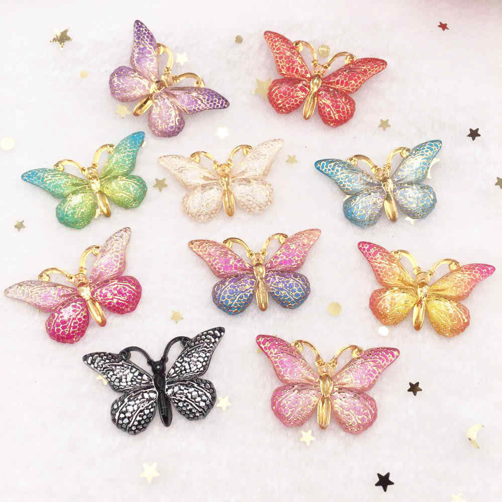 New 10pcs Resin Resin 25*38mm Bling Colorful Butterflies Flatback Rhinestone 1 Hole Ornaments DIY  Wedding Appliques Craft W75