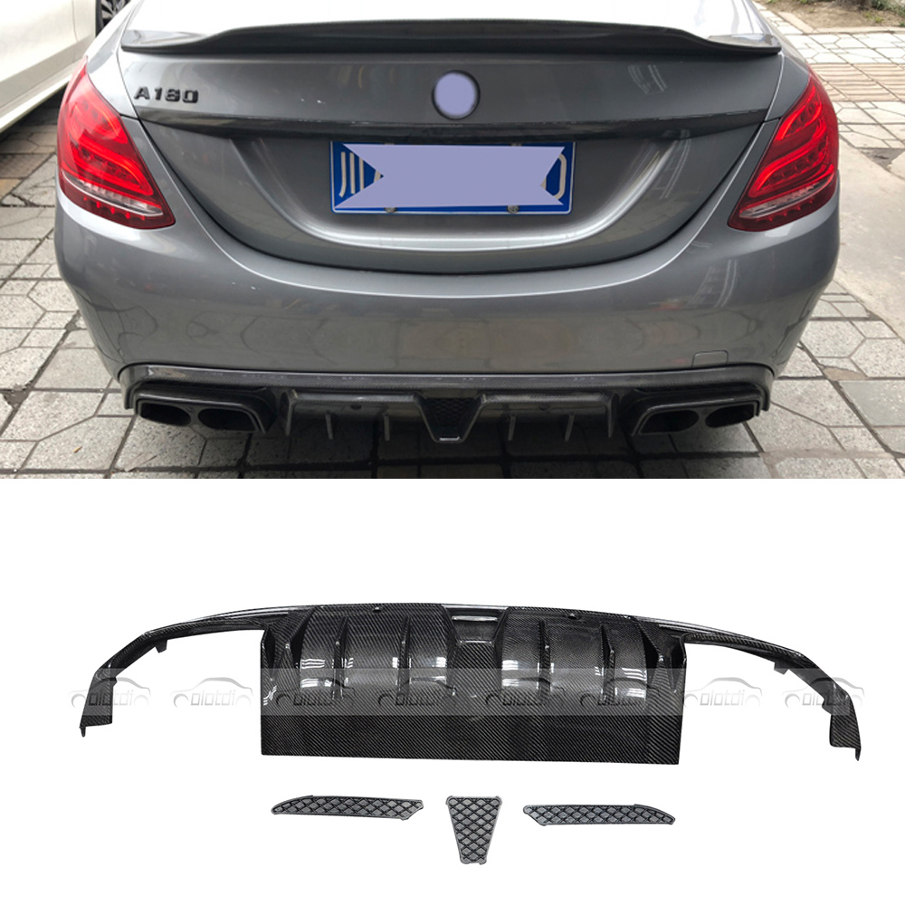 for Brabus Style Car Styling Top Quality Real Carbon Fiber Rear Bumper Splitter Diffuser Lip for Mercedes Benz W205 olotdi car styling carbon fiber back lip rear bumper diffuser spoiler splitter for porsche macan 2014 2016