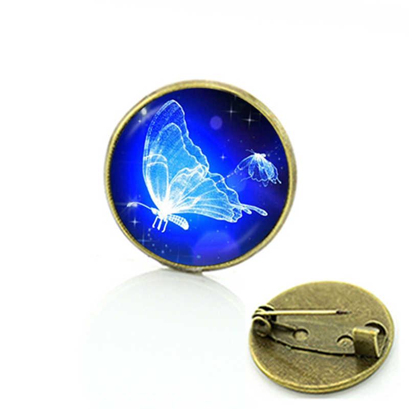 Cura Energética TAFREE quente jóias Gato Preto lua cheia de vidro cabochão de metal broches atacado mulheres Borboleta pinos crachá C718