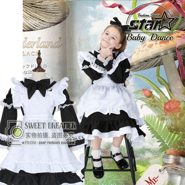 5pcs/set Girl Alice Cosplay Costume Kids Maid Sailor Lolita Dress Blue Pink Black Girl Halloween Cosplay Costume With Headwear цена 2017
