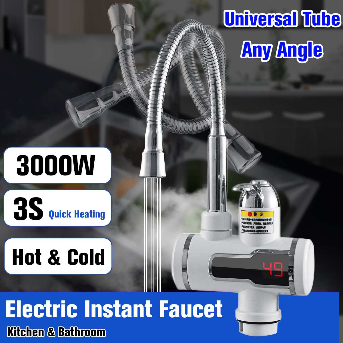 220V 3000W Electric Hot Faucet Water Heater Electric Tankless Water Heating Kitchen Faucet Digital Display Instant Water Tap