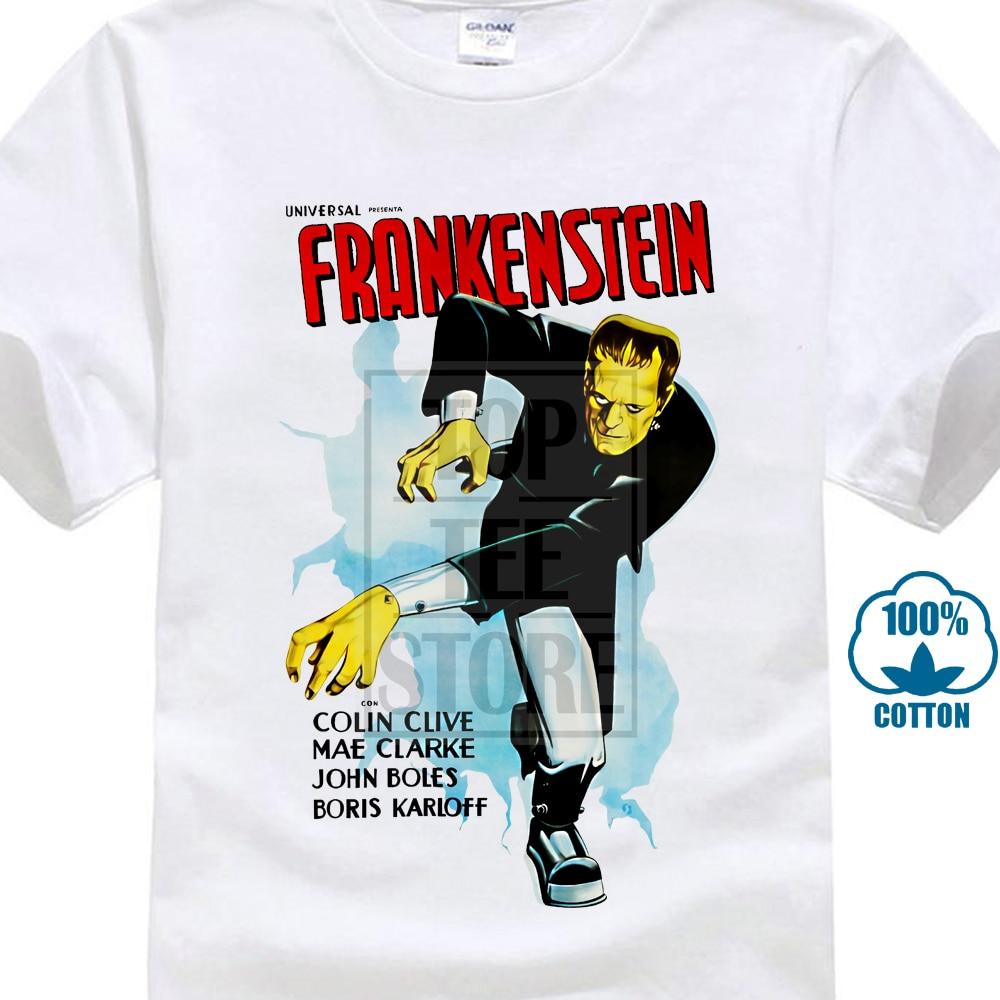 T Shirt Film Frankenstein Grau Mit Bild Poster Kino Horror Vintage